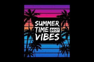 T-shirt summer time best vibes palm beach vector