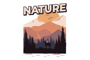 T-shirt nature pine deer mountain vector