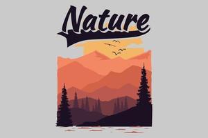 T-shirt nature mountain vector