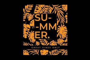 T-shirt design of summer leaf tropical typography vector