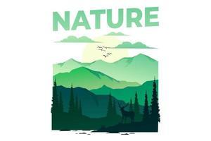 T-shirt nature adventure deer summer mountain vintage illustration vector