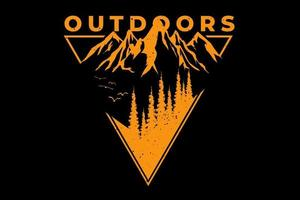 T-shirt outdoors pine mountain vector