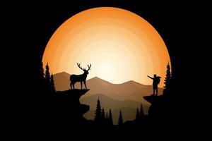 camiseta estancia ciervo salvaje pino sol montaña vector