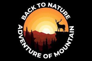 T-shirt design of adventure mountain nature deer vector