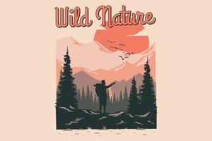T-shirt wild nature mountain pine summer vector