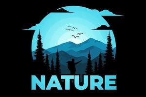 T-shirt nature pine adventure mountain vector