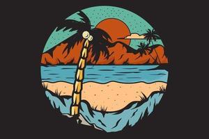 T-shirt beach nature explore palm mountain vector