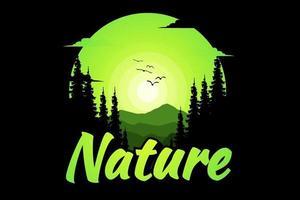 T-shirt nature florest mountain vector