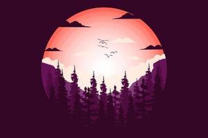 camiseta pino montaña naturaleza hermoso estilo plano ilustración vector