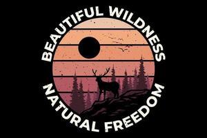 T-shirt wildness natural freedom pine beautiful vector