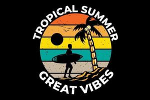 T-shirt tropical summer great vibes surfing vector