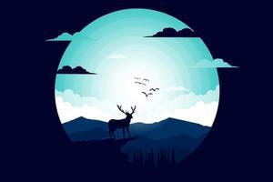 camiseta naturaleza ciervos montaña luz noche ilustración plana vector