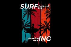 T-shirt design explore surfing  beach vector