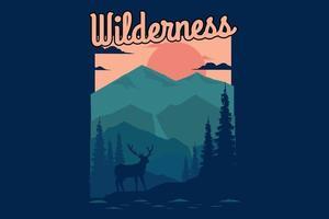 T-shirt design of wilderness nature mountain vector