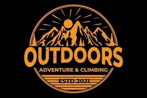 T-shirt outdoors adventure climbing mountain vector
