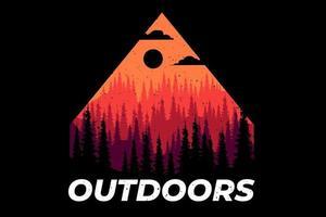 T-shirt outdoors pine mountain summer vector