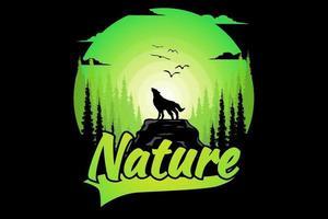 T-shirt wolf pine nature green gradient vector