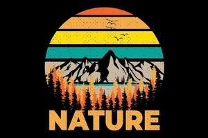 T-shirt nature mountain pine tree retro vintage style illustration vector