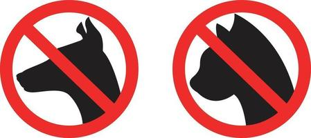 No Dog and Cat Allowed Restriction Icons vector