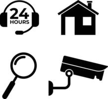 Care Service and Support, House, Camera and Search, Magnifying Icons vector