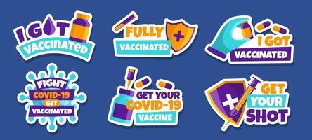 covid-19 después del juego de pegatinas de vacuna vector