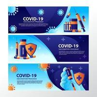 covid-19 después de banner de vacuna vector