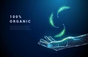 Abstract giving hand with falling green leafs. vector