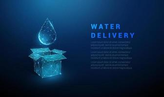 Abstract blue open box and water drop vector