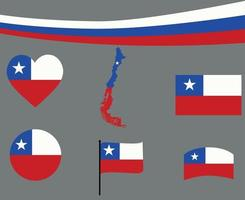 Chile Flag Map Ribbon And Heart Icons Vector Illustration Abstract