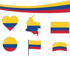 Colombia bandera mapa cinta y corazón iconos ilustración vectorial abstracto vector