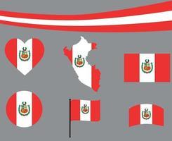 perú, bandera, mapa, cinta, y, corazón, iconos, vector, ilustración, extracto vector