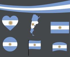 Argentina bandera mapa cinta y corazón iconos ilustración vectorial abstracto vector