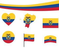 Ecuador Flag Map Ribbon And Heart Icons Vector Illustration Abstract
