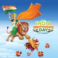 India Independence day wishes with Mother India destroyed Virus vector