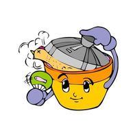 cooking pot cartoon illustration vector