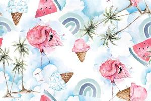 Seamless pattern coconut tree and flamingo vector