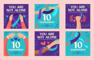 Suicide Prevention Day Awareness Set of Cards vector