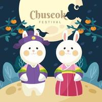 A Couple of Smiling Bunny Dressed With Chuseokbim vector