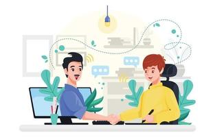 A Man Work from Home vector