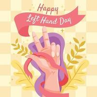 Cute Flat Happy Left Hand Day vector