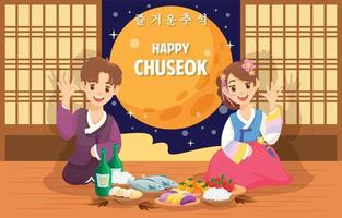 Cute Couple Celebrate Chuseok Day vector
