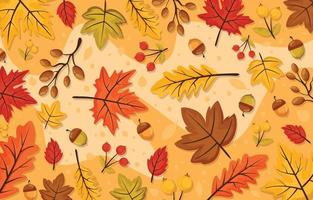Fall Autumn Floral and Leaves Background vector