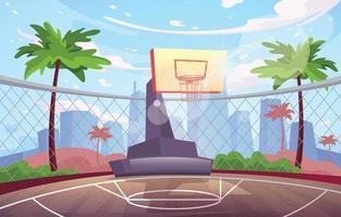 fondo de cancha de baloncesto al aire libre vector