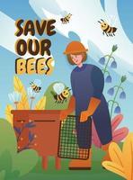 apicultor con algunas de las abejas en el jardín vector