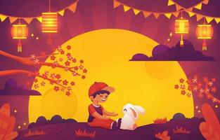 Kid Play with Rabbit during Mid Autumn Festival vector