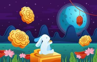 Cute Rabbit Celebrates Mid Autumn Festival vector