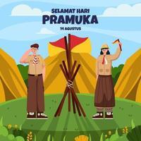 A Couple Celebrate Pramuka Day vector