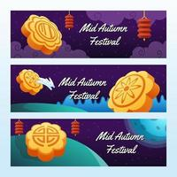 Mooncake Banner Collection vector