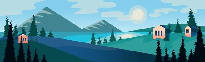 Panoramic mountain sunny landscape, houses on the hill - Vector
