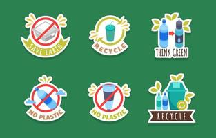 No Plastic Day Sticker Pack vector
